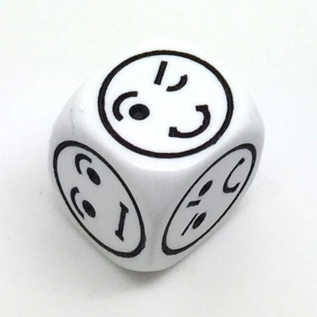 1d6 Smiley blanc (17mm)