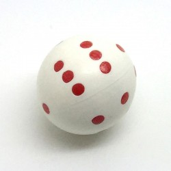 d6 rond blanc à points rouges