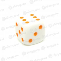 d6 Blanc à points orange (14 mm)