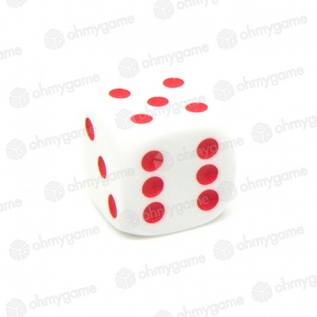 d6 Blanc à points rouge (14 mm)