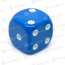 d6 à points, opaque bleu
