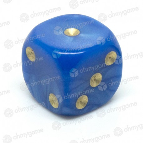 d6 à points, perle bleu