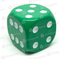 d6 à points, opaque vert (36 mm)