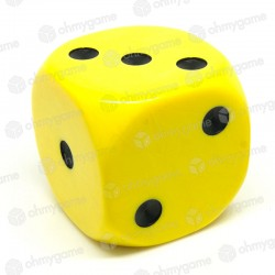 d6 à points, opaque jaune (36 mm)