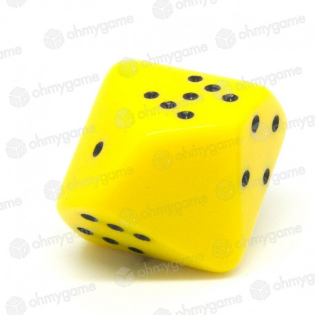 d10 à points, opaque jaune (20 mm)