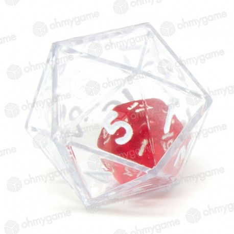 1d20 Double transparent cristal/rouge (24mm)
