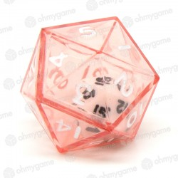 1d20 Double transparent rouge/blanc (24mm)