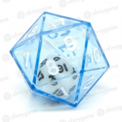 d20 Double transparent bleu/blanc (24mm)