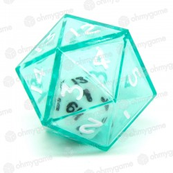 1d20 Double transparent vert/blanc (24mm)