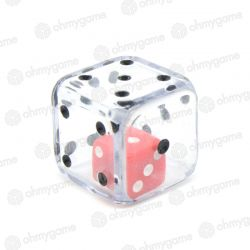1d6 Double transparent cristal/rouge (19 mm)