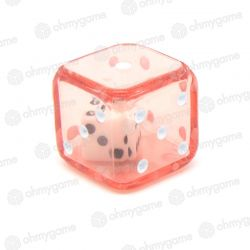 d6 Double transparent rouge/blanc (19 mm)