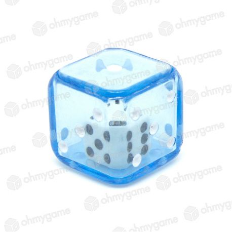 d6 Double transparent bleu/blanc (19 mm)