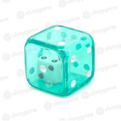 1d6 Double transparent vert/blanc (19 mm)