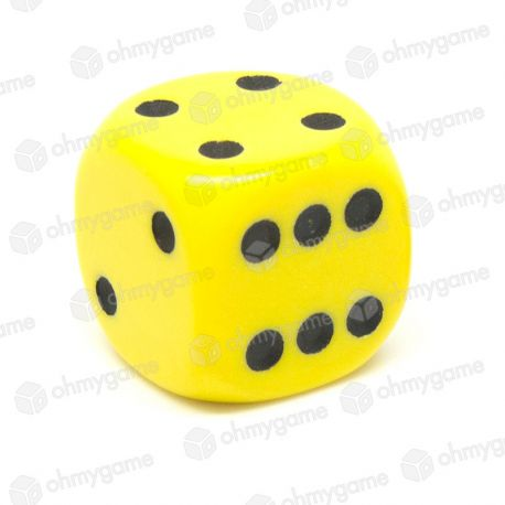 d6 à points, opaque jaune (22 mm)