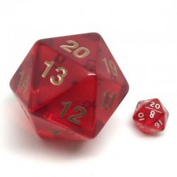 d20 Compte à Rebours transparent rouge (55 mm)